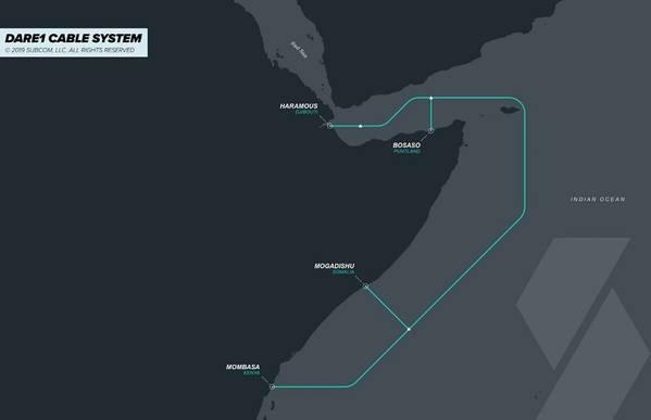 जिबूती टेलीकॉम, सोमटेल और सबकॉम ने घोषणा की कि जिबूती अफ्रीका रीजनल एक्सप्रेस 1 (DARE1) पनडुब्बी केबल प्रणाली के लिए समुद्री सर्वेक्षण पूरा हो गया है और केबल मार्ग को अंतिम रूप दिया गया है। कंपनियों ने सोमालिया के बोसासो में एक लैंडिंग स्टेशन को जोड़ने की भी घोषणा की। चित्र: जिबूती टेलीकॉम, सोमटेल और सबकॉम