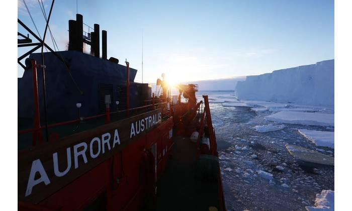 Aboard RSV Aurora Australis at the front of the Totten Glacier in 2015 – the first time a ship had been able to access the front of the Totten Glacier which is normally surrounded by thick sea ice. (Photo: Paul Brown)