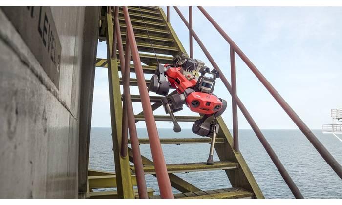 ANYBotix' ANYmal C legged robot took its first steps offshore on Petronas' Dulang C platform, Malaysia. Photos from ANYBotix.