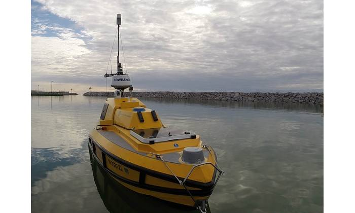 ASV BEN (Bathymetric Explorer and Navigator) is a custom prototype built by SV Global Unmanned Marine System for University of New Hampshire's Center for Coastal and Ocean Mapping. ASV BEN has a state-of-the art seafloor mapping system that can map depths reaching 650 feet. (Photo: Ocean Exploration Trust)