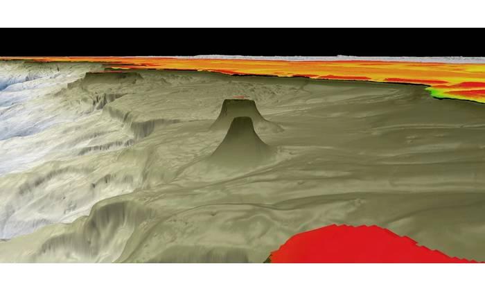 Broad mapping profile of new 500 m detached reef. Credit: Schmidt Ocean Institute