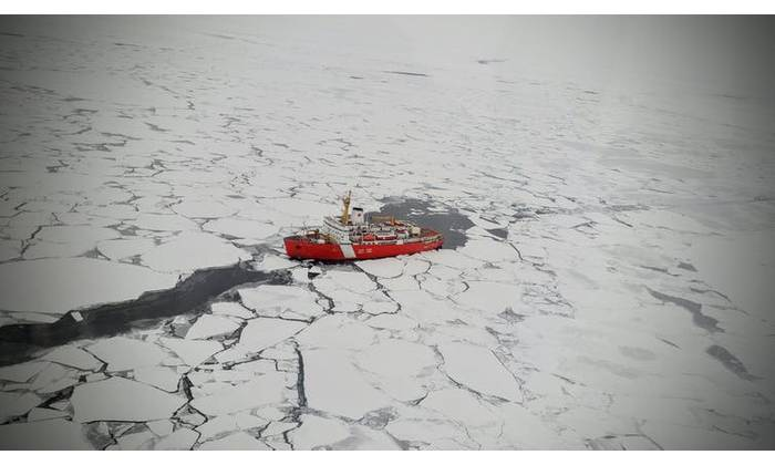 The Canadian Coast Guard Ship Louis S. St. Laurent transiting the Arctic Ocean. This expedition between Norway and Canada collected seawater samples for microplastics analysis. (Photo: Arthi Ramachandra / Fisheries and Oceans Canada)