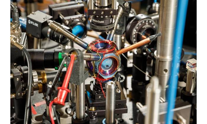 A compact device designed and built at Sandia National Laboratories could become a pivotal component of next-generation navigation systems. (Photo by Bret Latter)
