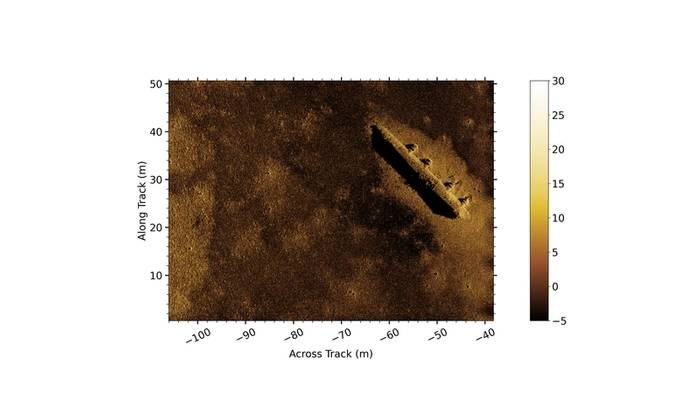 Figure 1 Gavia AUV mounted Kraken MINSAS data showing a survey area containing the remnants of a WW2 B-24 bomber. Image: Teledyne Gavia/Kraken
