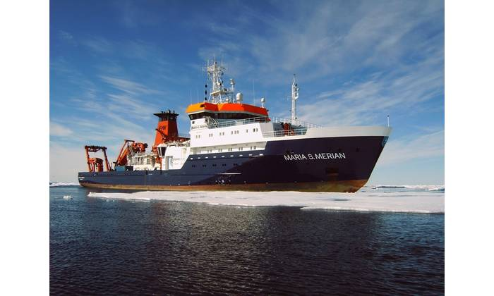 Germany's research vessel Maria S. Merian will use its new Sonardyne tracking technology to conduct science operations around the world, including the subpolar Norwegian Sea. (mage: Briese Schiffahrts GmbH & Co. KG, Research | Forschungsschifffahrt)