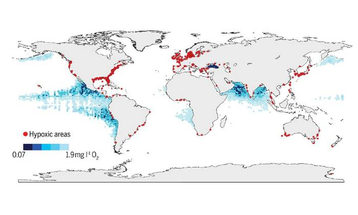 Global map of low oxygen or hypoxic zone which have become more prevalent and dangerous to marine life.  Figure courtesy of Breitburg, D., Levin, L.A., Oschlies, A., Grégoire, M., Chavez, F.P., Conley, D.J., Garçon, V., Gilbert, D., Gutiérrez, D., Isensee, K. and Jacinto, G.S., 2018. Declining oxygen in the global ocean and coastal waters. Science, 359(6371), p.eaam7240.