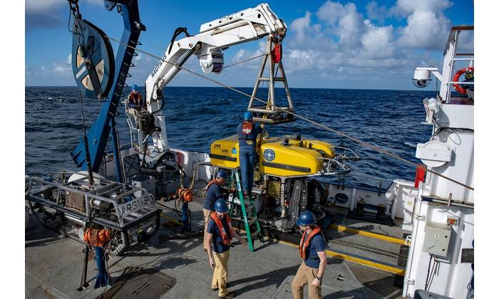 ROV Hercules launches off of the E/V Nautilus to search for meteorite fragments in Olympic Coast National Marine Sanctuary. (Photo: Susan Poulton/OET)