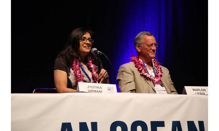 Dr.  Jyotika Virmani and Dr. Marlon Lewis at OceanObs'19. Photo: OceanObs'19
