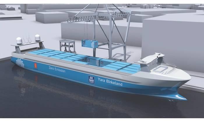 Kongsberg's Yara Birkeland unmanned container ship concept. (Image: Kongsberg)