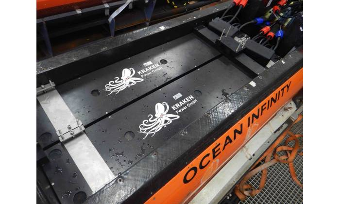Ocean Infinity's Kongsberg Hugin AUVs powered by four, 20 kWh Kraken batteries for a total of 80 kWh per vehicle. (Photo: Kraken Robotics)