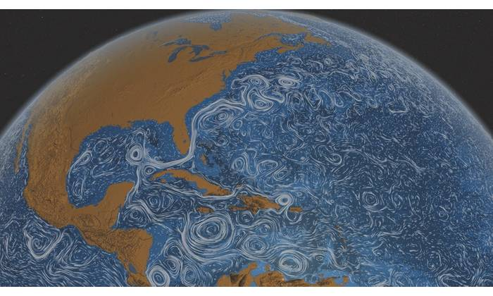 Ocean surface currents around the world. (NASA/Goddard Space Flight Center Scientific Visualization Studio)