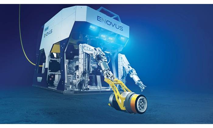 Oceaneering's electric work class eNovus ROV with handheld tooling interface. (Image: Oceaneering)