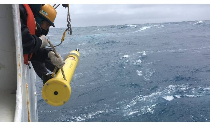 "Ocean-going monitoring floats like this one are deployed from ""ships of opportunity"" as they transit the ocean. (Photo: SOCCOM)"