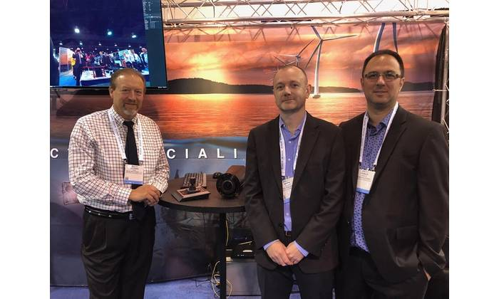 Pictured here at the Sidus booth are (L to R): Leonard Pool, Mark Hopper, VP, and Francis Labonte, both with Montreal-based Vantrix. Look for a feature on the system in a future edition of Marine Technology Reporter magazine. Photo: Greg Trauthwein