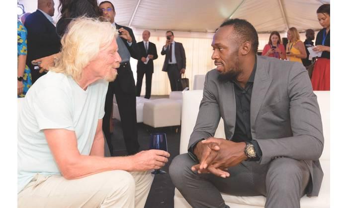 Richard Branson with Usain Bolt (Photo: Caribbean Climate-Smart Accelerator)