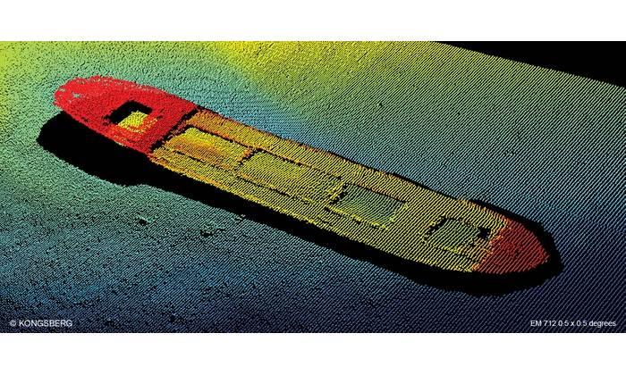 Underwater image captured using an EM 712 multibeam echo sounder (Image: Kongsberg Maritime)