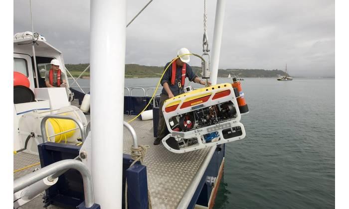 University of Plymouth's Saab Seaeye ROV launched off their vessel RV Falcon Spirit (Photo: Marine-i)