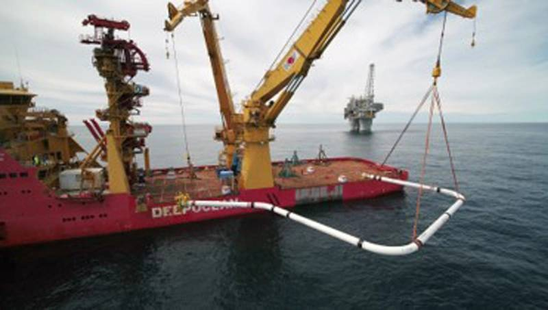 The 36in spool being installed using the Edda Freya.  Source:  Equinor.