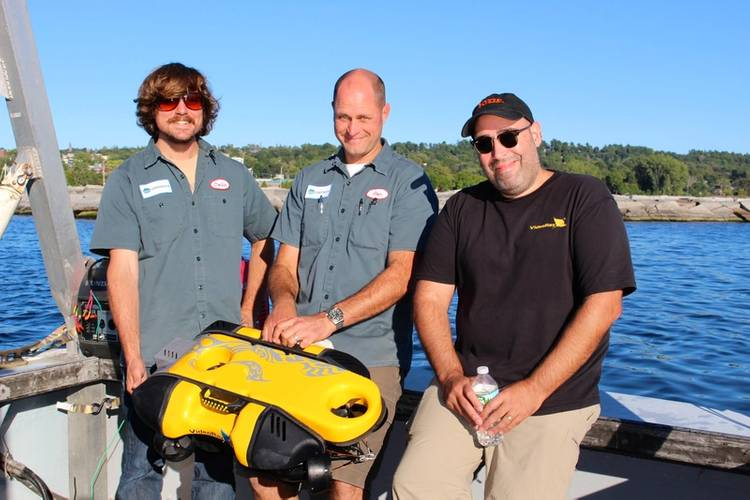 Andy Goldstein, VP Engineering, VideoRay; Ben Kinnaman, CEO, Greensea; and Colin Riggs, Sr. Engineer, Greensea, conduct testing with Mission Specialist ROV. (Photo: Greensea)