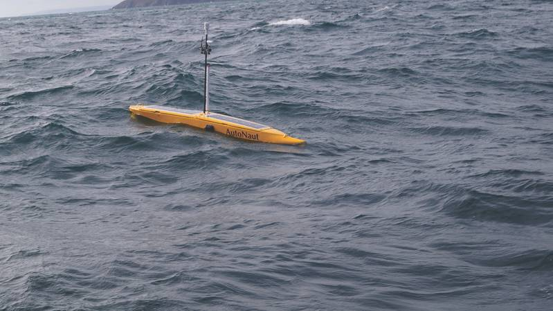 3.5m AutoNaut on deployment off the South Devon Coast.