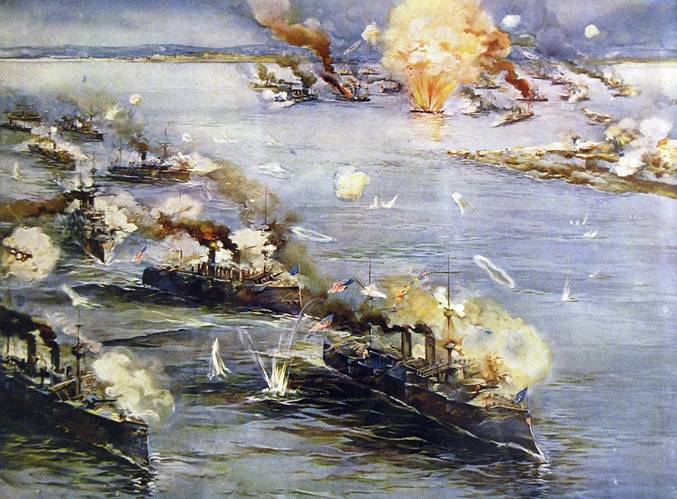 """Battle of Manila Bay, May 1, 1898, with Manila Philippines, in the top center, and the Spanish fleet in the upper right. Ships listed descending on the left to bottom: cutter USRC Cutter McCulloch; gunboats USS Petrel and USS Concord; protected cruisers USS Boston, USS Raleigh, USS Baltimore, and USS Olympia flagship, signaling """"Remember the Maine."""" (Credit: Library of Congress)"""