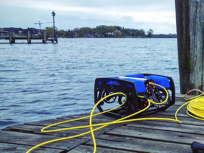 Beta tester BlueROV2 at Lake Minnetonka (Photo: Blue Robotics)