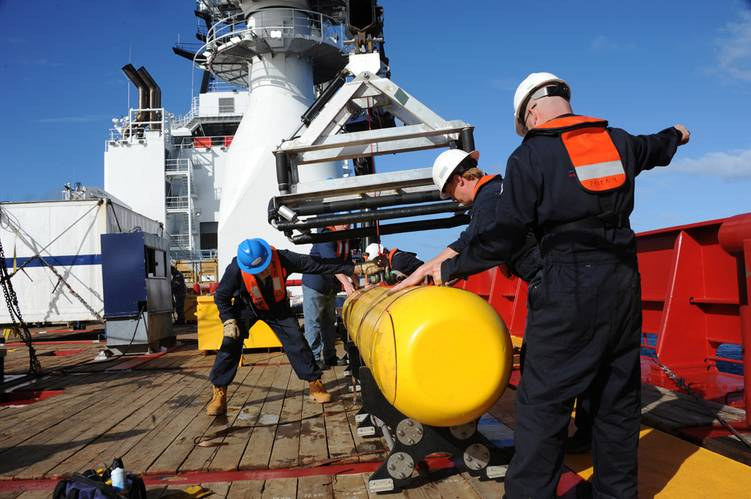 The Bluefin 21, Artemis autonomous underwater vehicle (AUV) is hoisted back aboard the Royal Australian Navy Australian Defense Vessel (ADV) Ocean Shield after successful buoyancy testing. Joint Task Force 658 is supporting Operation Southern Indian Ocean, searching for the missing Malaysia Airlines Boeing 777.  (U.S. Navy photo by Mass Communication Specialist 1st Class Peter D. Blair/Released)