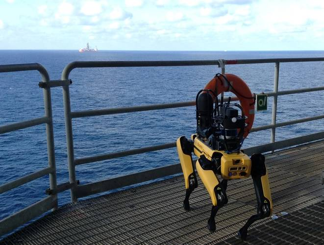 Boston Dynamic's Spot quadruped robot posing during its trials on bp's Mad Dog facility in the US Gulf of Mexico. Photos from BP.
