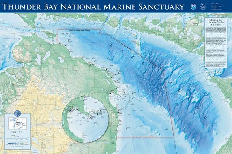 Map of the boundaries of Thunder Bay National Marine Sanctuary, showing documented shipwreck sites and a view of Lake Huron and the coast. (Image courtesy of Thunder Bay National Marine Sanctuary, NOAA)