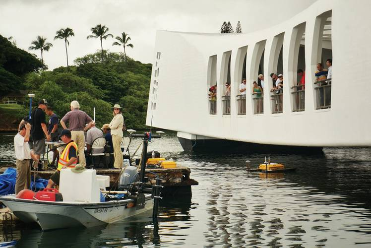 The low ceiling of the USS Arizona Memorial building made the H-1750 a well-suited for this survey. (Photo: TJ Kneale)
