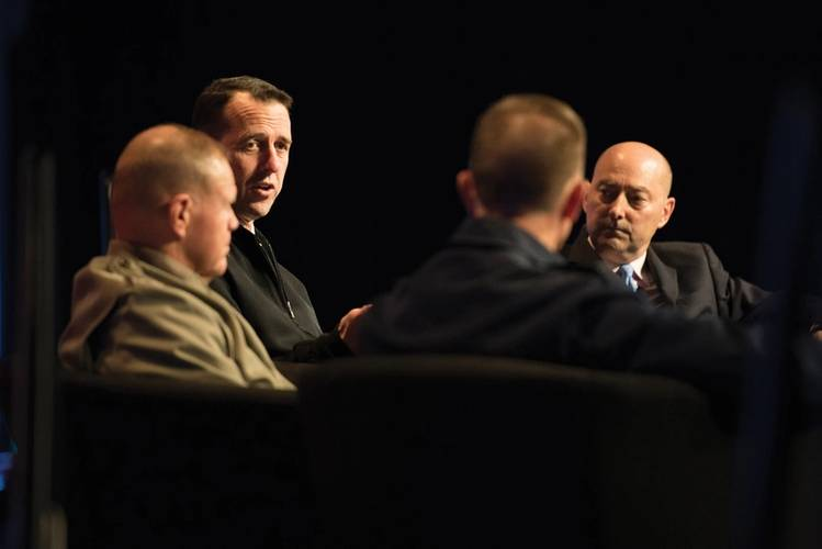 Chief of Naval Operations (CNO) Adm. John Richardson, Commandant of the Marine Corps Gen. Robert Neller, and Commandant of the Coast Guard Adm. Paul Zukunft participate in a panel discussion, moderated by retired Adm. James Stavridis during the Armed Forces Communication and Electronics Association-U.S. Naval Institute (AFCEA/USNI) WEST 2018. WEST brings together military and industry leaders from the sea services to share information and ideas. (U.S. Navy photo by Mass Communication Specialist