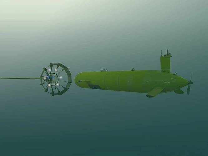 Computer generated image of the AUV and the dock subsea. Image courtesy International Submarine Engineering Ltd.