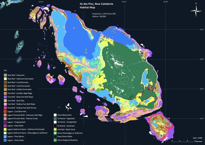 Coral reef habitat map of Ile des Pins, New Caledonia: The Global Reef Expedition resulted in the creation of 65,000 square kilometers of high-resolution coral reef habitat maps —or about one-fifth of the world's coral reefs. Copyright Khaled bin Sultan Living Oceans Foundation (KSLOF)