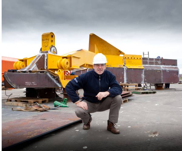 Ecosse Subsea Systems managing director, Mike Wilson, with the SCAR subsea plough.