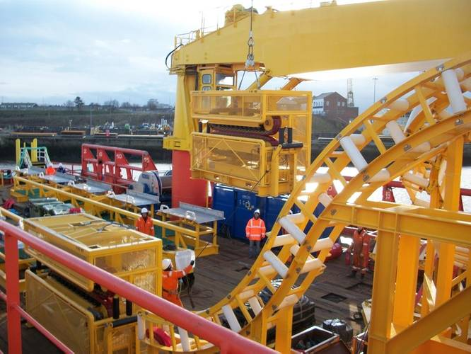 Ecosse Subsea Systems prepare cable laying equipment for mobilization onboard the Atlantic Carrier.