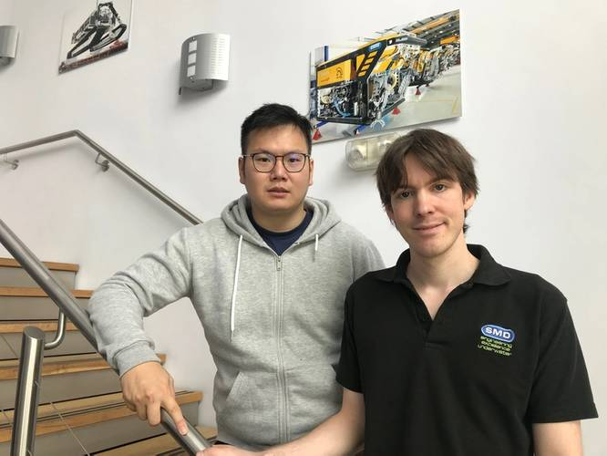 Engineers, Hua Khee Chan and Andrew Ambrose-Thurman taken at Soil Machine Dynamics Ltd (SMD). (Photo: SMD)