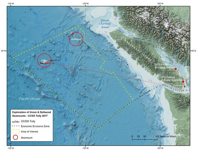 Map: Exploration of Union & Dellwood Seamounts - CCGS Tully 2017 (Image: Fisheries and Oceans Canada)