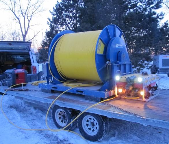 Falcon with 5km umbilical winch on trailer at Toronto Deep Lake Cooling Project, Canada.