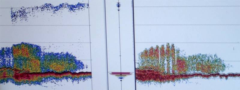 Fathometer image taken on board NOAA's Channel Islands National Marine Sanctuary research vessel Shearwater in 2014 shows depth soundings over the shipwreck USCG Cutter McCulloch. (Credit: Robert V. Schwemmer NOAA)