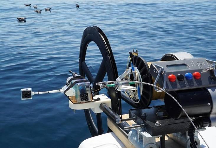 The fiber optic fishing reel system with a live-telemetry fiber optic imaging payload prepared for deployment in deep water over Atlantis Canyon in July 2020. Photo courtesy of Brennan Phillips.