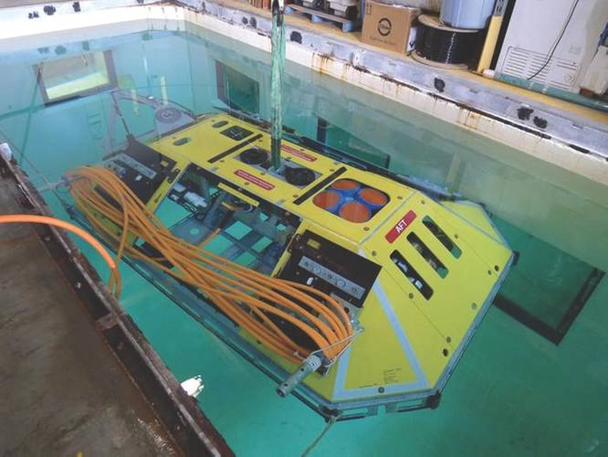 Fig.4. A Benthic Experiment Package hosts an ADCP and several smaller ocean sensors within a hazard-resistant frame. Also inside is a power / comms unit for the cabled network. (Credit: University of Washington)