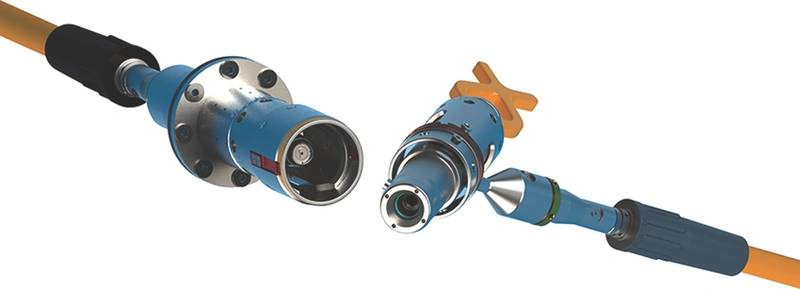 Figure 1: TE Connectivity's SEACON 24/48 Channel HydraLight Wet Mate connector for optical subsea distribution systems. (Image: TE Connectivity)