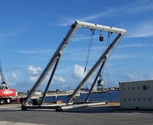 Figure 3. SST designed and built a 15-Ton A-frame for the installation of the array system in 2008. The same A-Frame was assembled and installed onto the MV Shelia Bordelon for the STAFAC Refurbishment Operation. (Photo: SST)