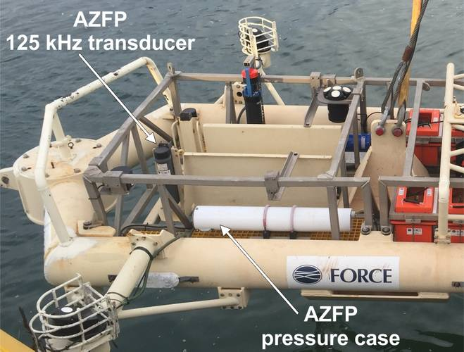 Figure 2: FAST 1 platform prepared for transit to the Minas Passage for deployment (placement of AZFP instrument indicated). (Photo credit: Pittman)
