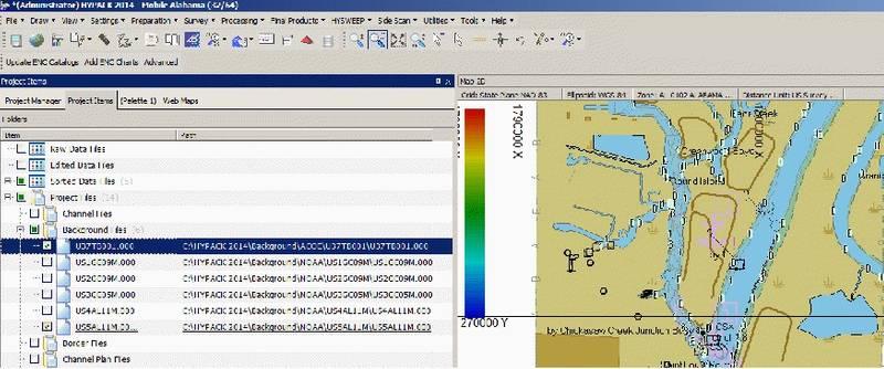 FIGURE 2. Five NOAA S-57 Charts and One USACE IENC