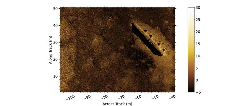 Figure 1 Gavia AUV mounted Kraken MINSAS data showing a survey area containing the remnants of a WW2 B-24 bomber. Image: Teledyne Gavia/Kraken