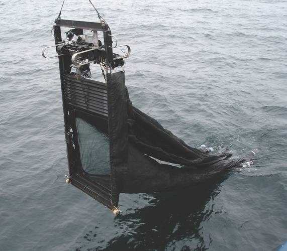 Figure 3: The Mocness with multiple plankton nets for sampling at discrete depths.  Sea-Bird environmental sensing instruments are located on the top of the large steel frame. (Image: Courtesy Kevin Hardy and Atacamex 2018)