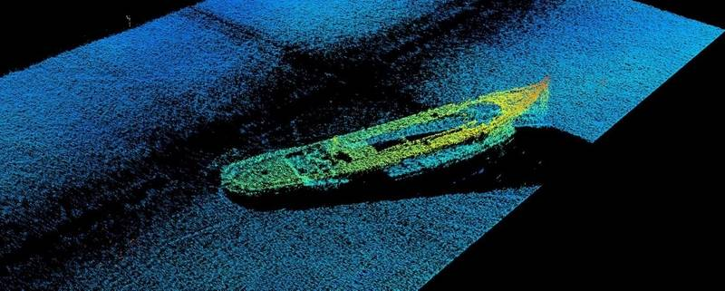 Figure 1: 3D sidescan image of the J.E. Boyden lying upright on the bottom of Lake Union as captured from the real-time 3DSS sonar display (Image: Ping DSP)