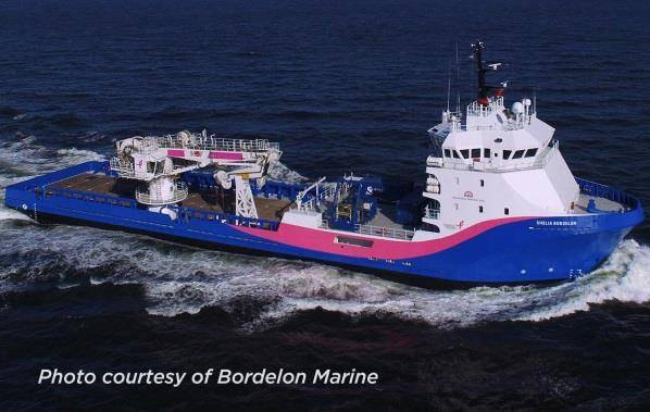 Figure 4. SST subcontracted the MV Shelia Bordelon for the recovery and installation of the STAFAC mooring. (Photo: Bordelon Marine)