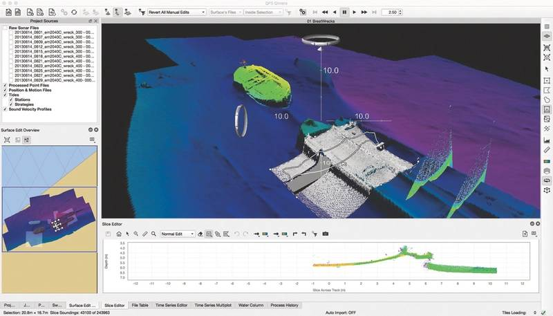 Figure 3: Typical Qimera Data Processing Environment showing a dynamic surface recently updated to show an inadvertent data edit completed within the Slice Editor.